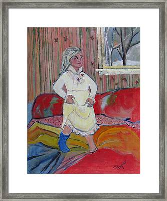 Girl With Blue Sock And Red Toe Nails Framed Print by Betty Pieper