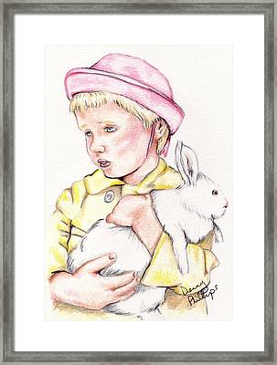 Girl With Bunny Framed Print by Denny Phillips