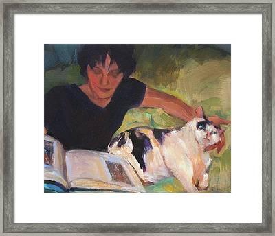 Girl With Cat Framed Print by Merle Keller