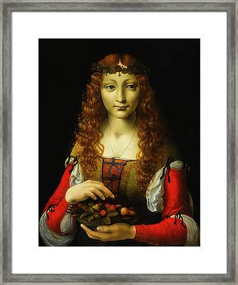 Framed Print featuring the painting Girl With Cherries by Giovanni De Predis