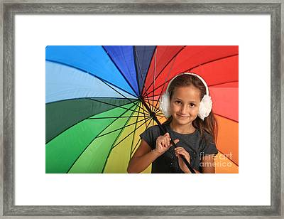 Girl With Colourful Umbrella  Framed Print