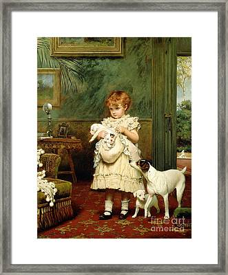 Girl With Dogs Framed Print