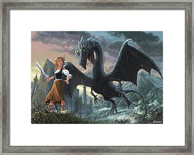 Girl With Dragon Fantasy Framed Print by Martin Davey