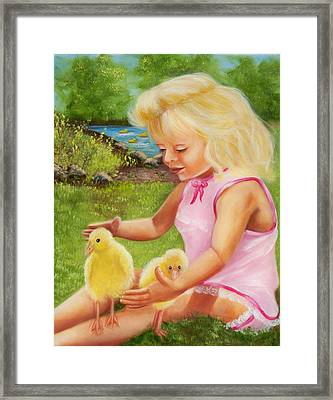 Girl With Ducks Framed Print by Joni McPherson