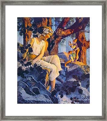 Girl With Elves 1918 Framed Print