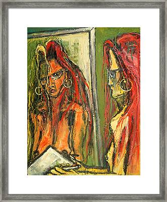 Girl With Eye Glasses--self-analysis Framed Print