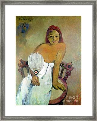 Girl With Fan Framed Print by Paul Gauguin