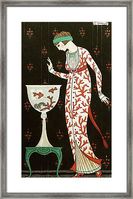 Girl With Fish Bowl Framed Print