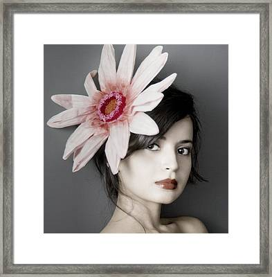 Girl With Flower Framed Print