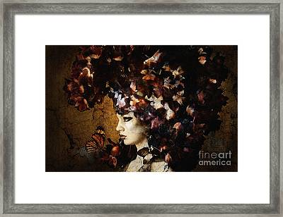 Girl With Flower Hat Framed Print