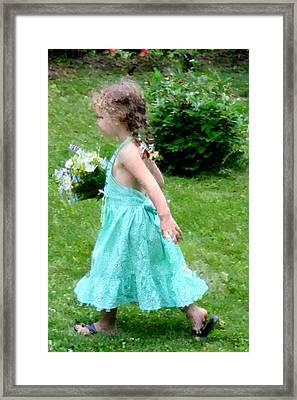 Girl With Flowers Framed Print by Diane Merkle