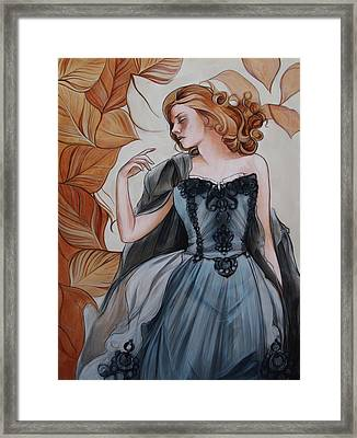 Girl With Golden Leaves Framed Print by Jacque Hudson