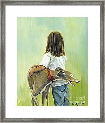 Girl With Greyhound Framed Print