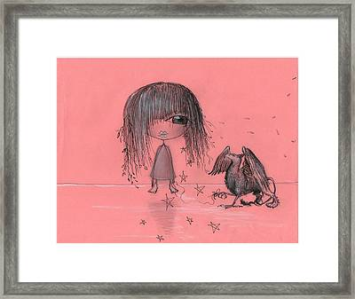 Girl With Griffin  Framed Print