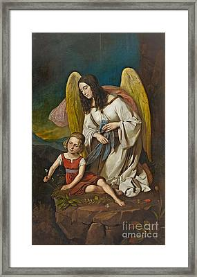 Girl With Guardian Angel Framed Print