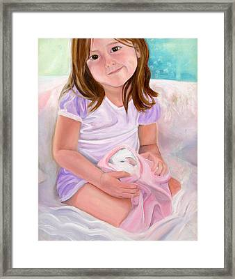 Girl With Guinea Pig Framed Print