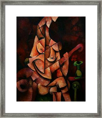 Framed Print featuring the painting Girl With Guitar by Kim Gauge
