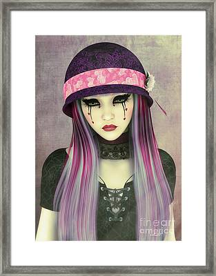 Girl With Hat Framed Print by Jutta Maria Pusl
