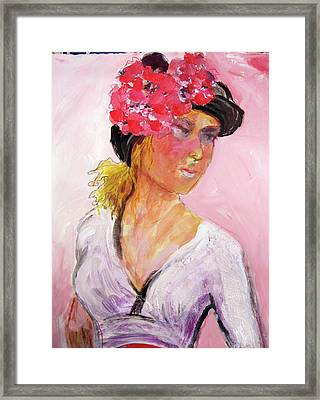 Girl With Hat Framed Print