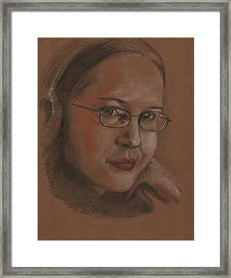 Girl With Headphones Framed Print by Masha Batkova