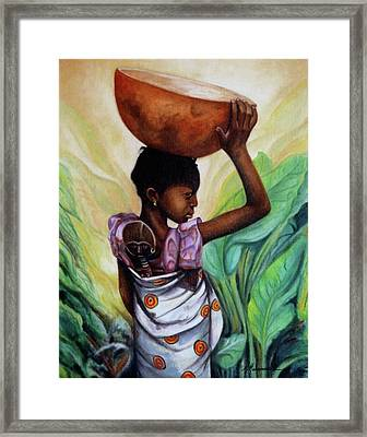 Girl With Her Doll Framed Print by Marcella Muhammad