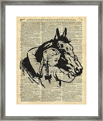 Girl With Horse Illustration Over Vintage Dictionary Page Framed Print
