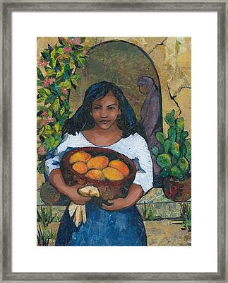 Girl With Mangoes Framed Print by Barbara Nye