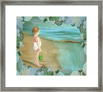 Girl With Marine Shells Frame Framed Print