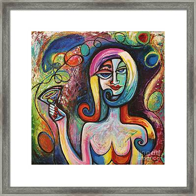 Framed Print featuring the painting Girl With Martini Cocktail Abstract by Genevieve Esson