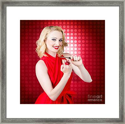 Girl With Nail File. Shaping Nails For Manicure Framed Print by Jorgo Photography - Wall Art Gallery