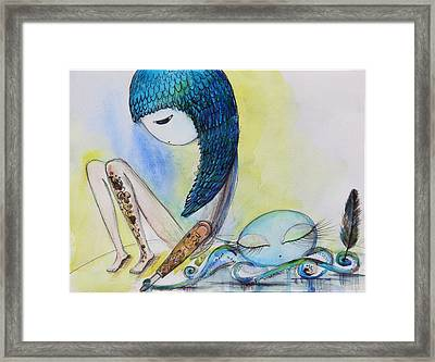 Girl With Octopus  Framed Print