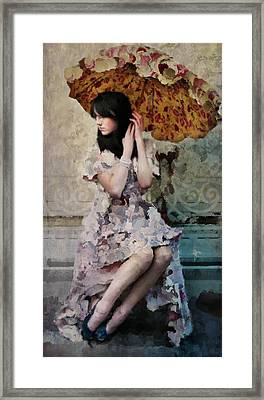 Girl With Parasol Framed Print