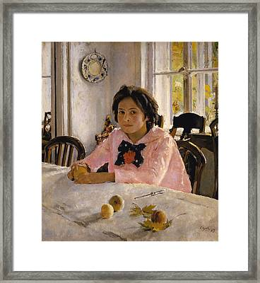 Girl With Peaches. Portrait Of V.s.mamontova  Framed Print
