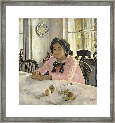 Girl With Peaches Framed Print by Valentin Aleksandrovich Serov