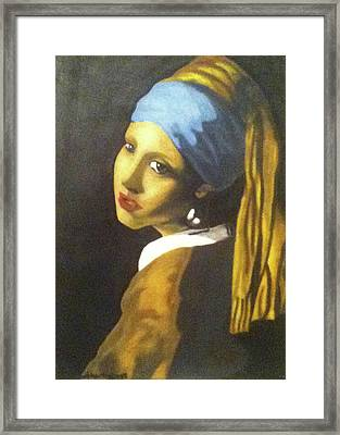 Framed Print featuring the painting Girl With Pearl Earring by Jayvon Thomas