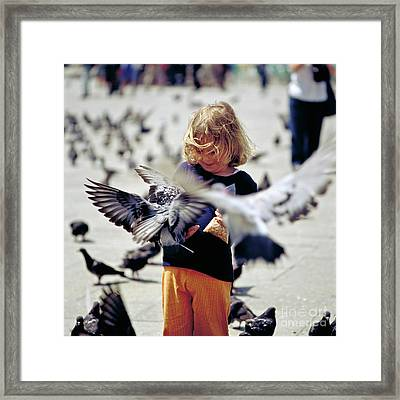 Girl With Pigeons Framed Print