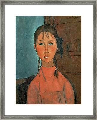 Girl With Pigtails Framed Print