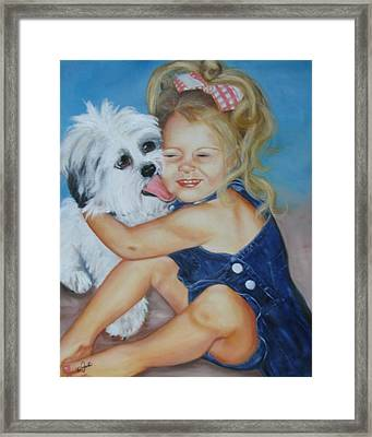 Girl With Puppy Framed Print by Joni McPherson