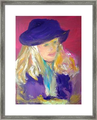 Girl With Purple Hat Study Framed Print by Patricia Taylor