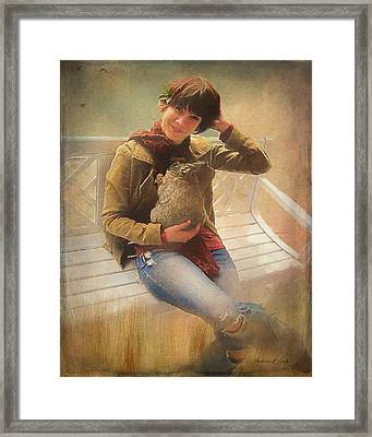 Framed Print featuring the photograph Girl With Rabbit by Bellesouth Studio