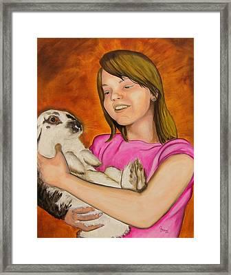 Girl With Rabbit Framed Print by John Stevens