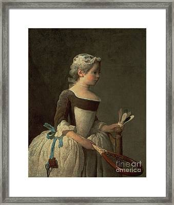 Girl With Racket And Shuttlecock Framed Print