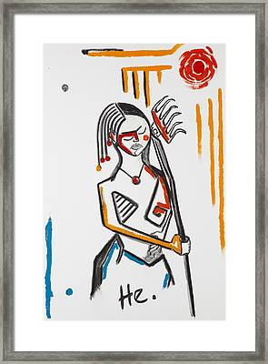 Girl With Rake 36x24 Framed Print