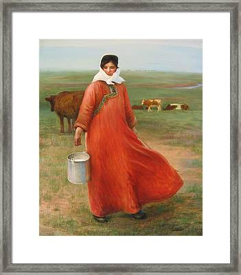 Girl With Red Robe  Framed Print