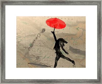 Girl With Red Umbrella Framed Print by Andre Pillay