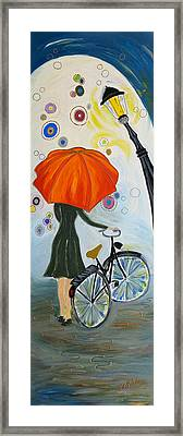 Girl With Red Umbrella Framed Print
