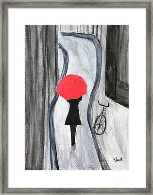 Girl With Red Umbrella Framed Print by Monika Howarth