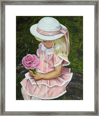 Framed Print featuring the painting Girl With Rose by Joni McPherson