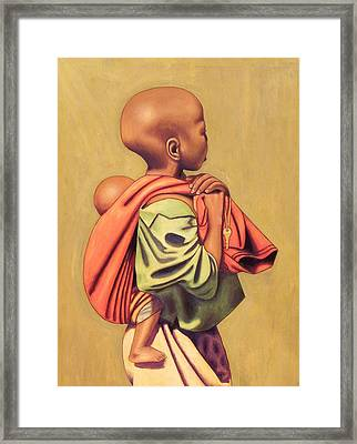 Girl With Sibling Framed Print