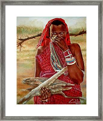 Girl With Sticks Framed Print by G Cuffia
